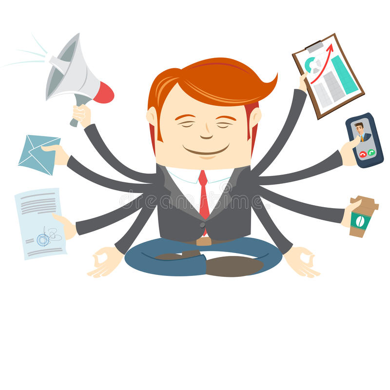 Office man with eight hands meditating in the middle of busy workday stock illustration