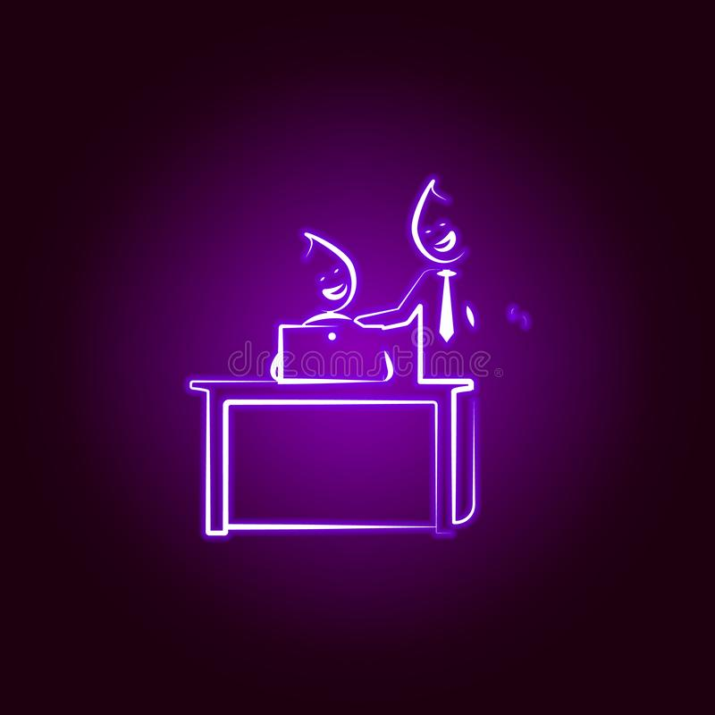 Office man good job well boss line icon in neon style. Element of office life illustration. Signs and symbols collection icon for vector illustration