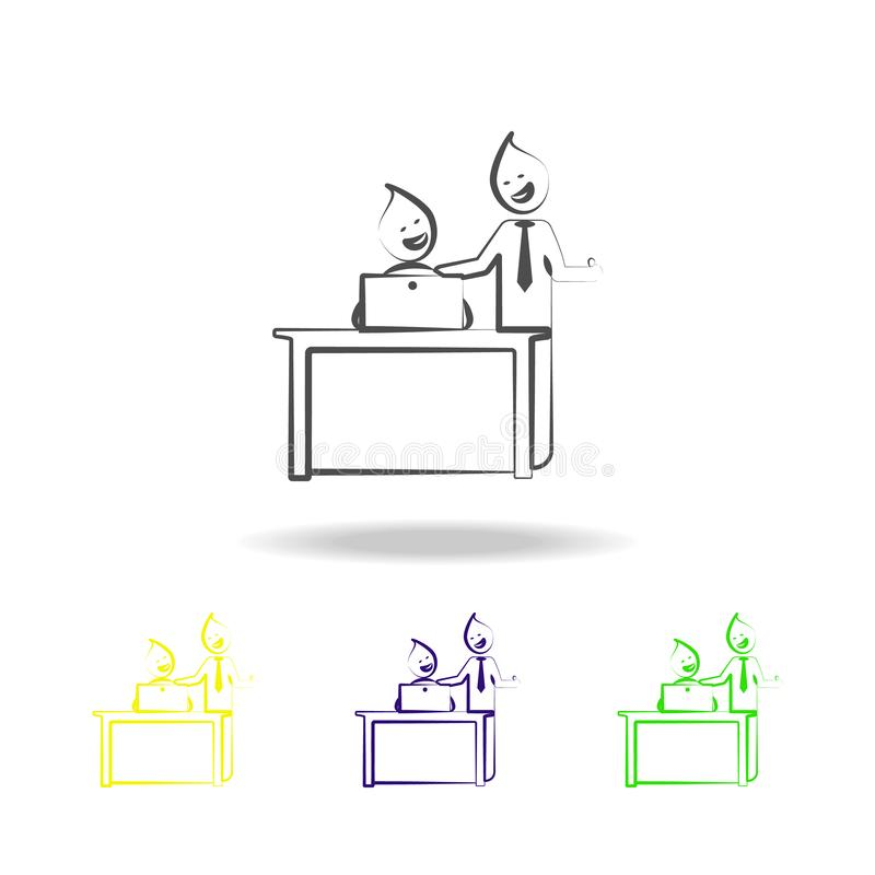 Office man good job well boss outline colored icons. Element of office life illustration.Signs and symbols collection icon for vector illustration