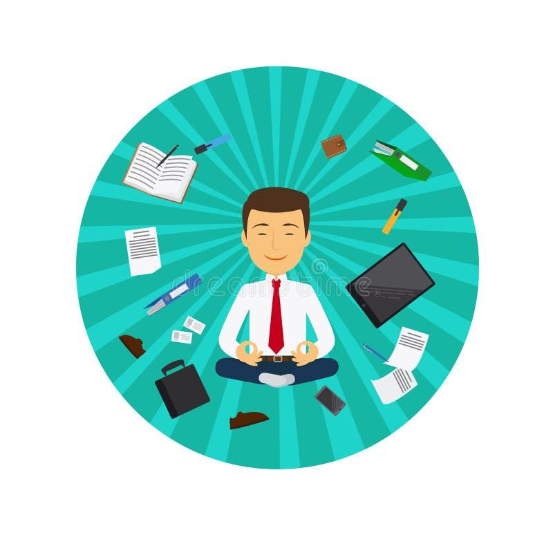 Office man meditation circle icon royalty free illustration