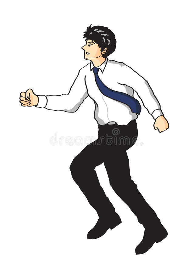 Office man in running action. Active men go to goal vector illustration