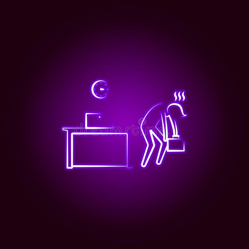 Office man tired end time line icon in neon style. Element of office life illustration. Signs and symbols collection icon for. Websites, mobile app on black stock illustration
