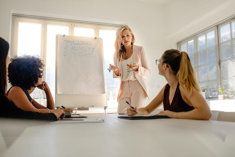 Office management team having a finance meeting royalty free stock images