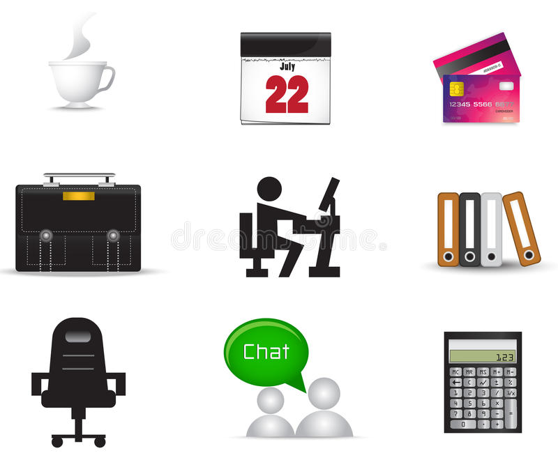 Office material icon collection set stock vector image for Office service material de oficina