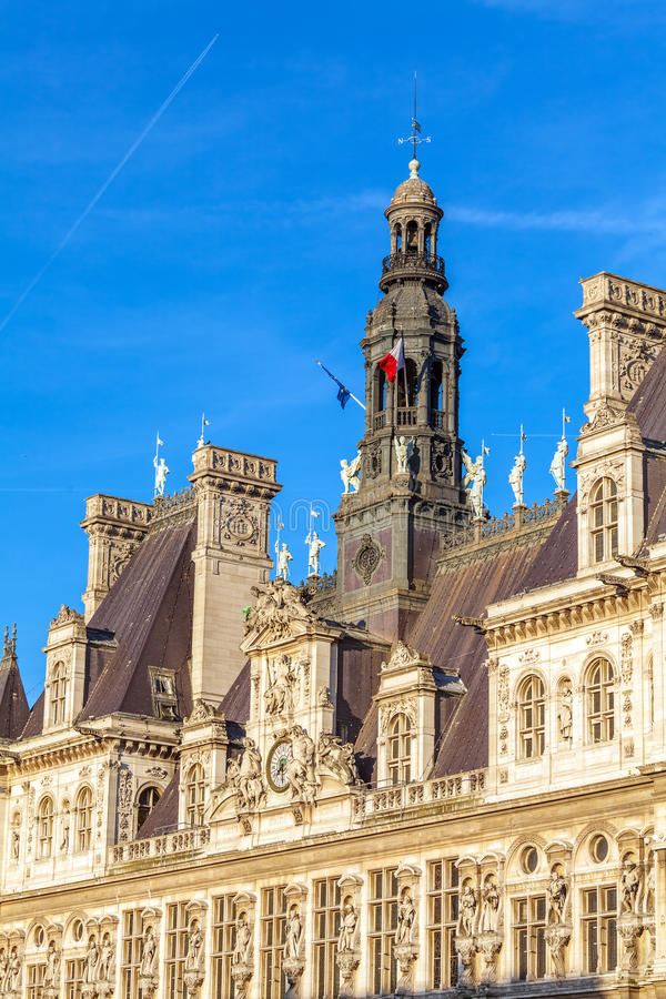 Office of Mayor of Paris - Hotel de Ville stock images
