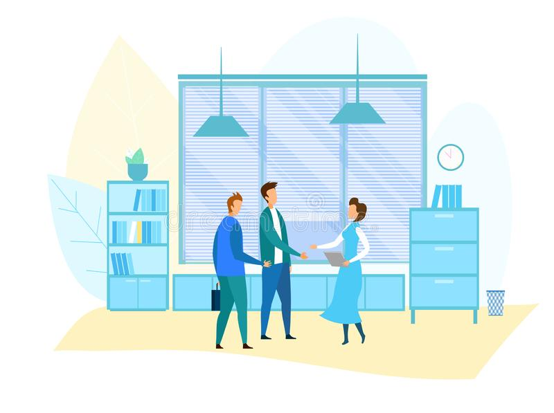 Office Meeting and Business Situation Illustration. Secretary Meets Partners. Top Managers, Supervisor, Assistant, Subordinate Greeting and Handshaking. Flat stock illustration