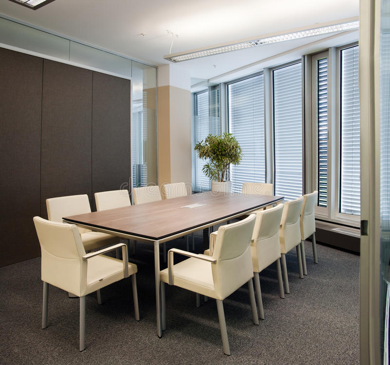 Office meeting hall. Indoor photograph of epmty office space royalty free stock images