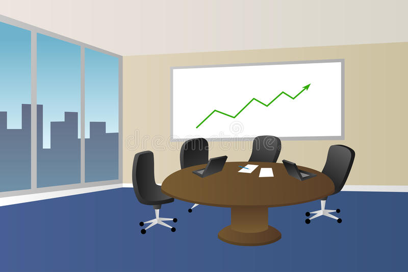 Office meeting room beige blue table chair window illustration. Vector