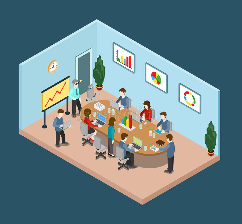 Office meeting room report collaboration flat 3d web isometric stock illustration
