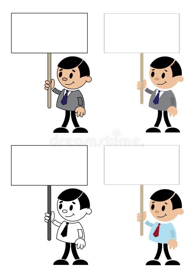 Download Office men with blank sign stock vector. Image of worker - 29106114