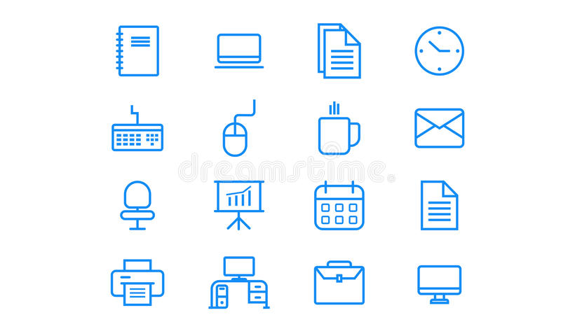 Office minimalist Icon Set vector illustration