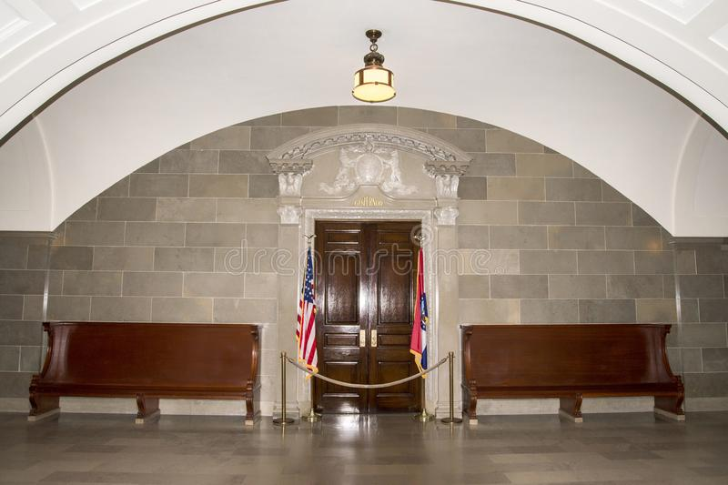 Office of the Missouri state Governor. Doorway to the Missouri state Governor`s office in the Missouri state capital building USA stock photo