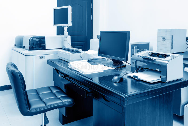 Office. Modern Office, PC, printers and copiers and other equipment stock image
