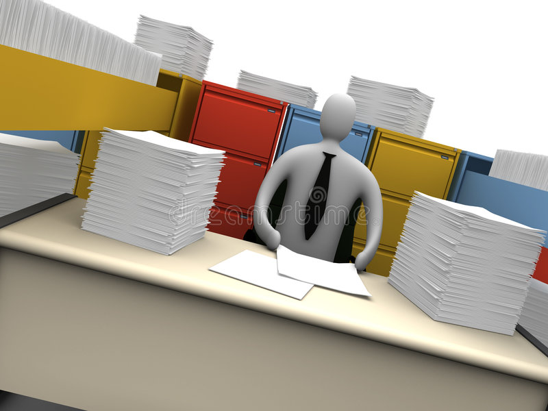 Download Office Moments - Endless Paperwork Stock Illustration - Illustration of render, employee: 1310390