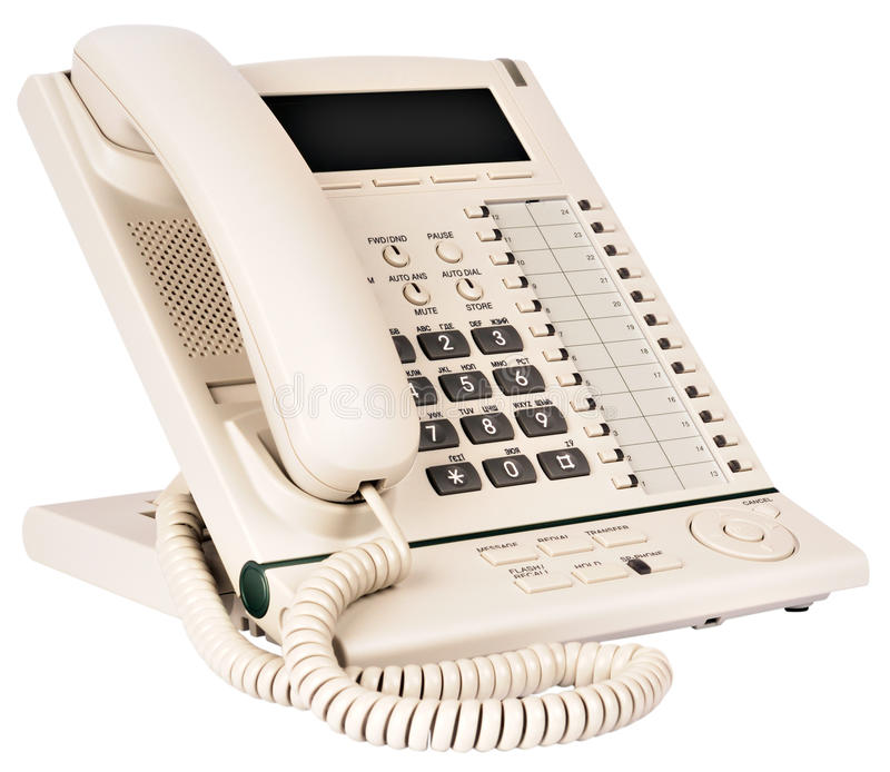 Office multi-button digital telephone. Office digital multi-button, light gray telephone set isolated on the white stock images