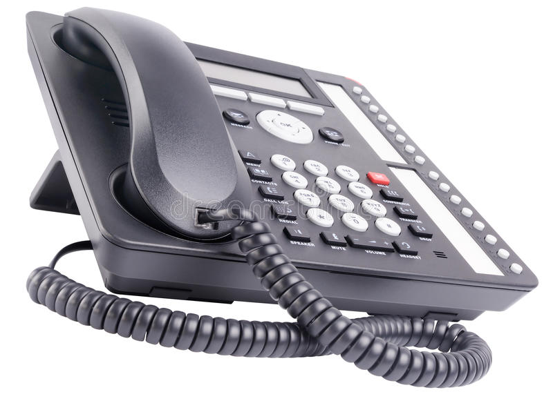 Office multi-button telephone. Office IP multi-button telephone set isolated on the white background stock photo