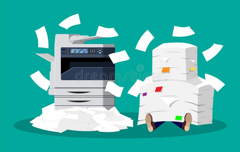 Pile of paper documents and printer. Office multifunction machine. Pile of paper documents. Bureaucracy, paperwork, overwork, office. Printer copy scanner device royalty free illustration