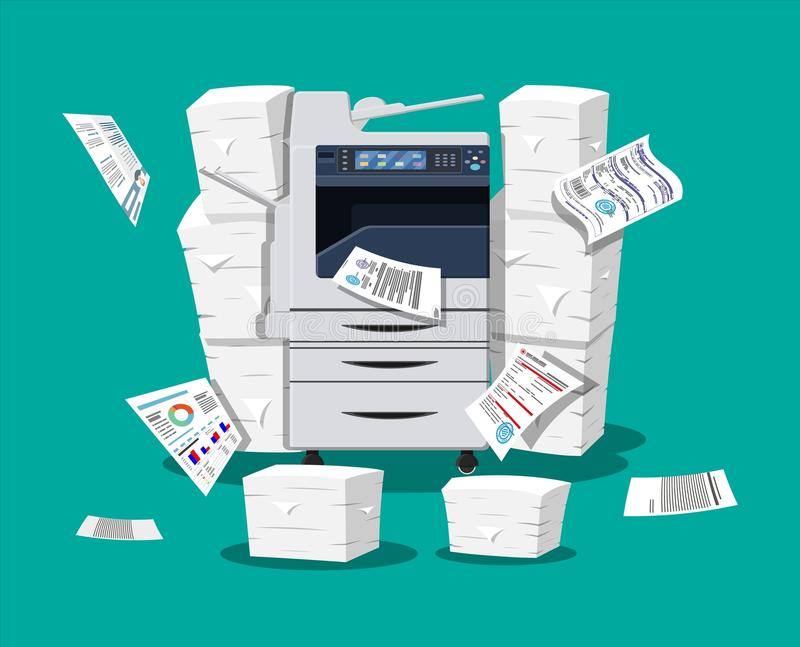 Pile of paper documents and printer. Office multifunction machine. Pile of paper documents. Bureaucracy, paperwork, office. Printer copy scanner device stock illustration