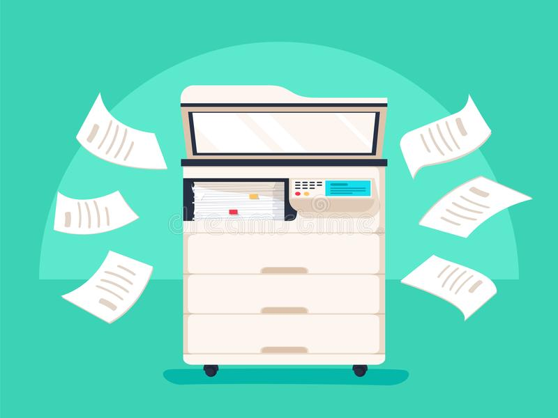 Office multifunction printer scanner. Copier with flying paper on background. Copy machine royalty free illustration