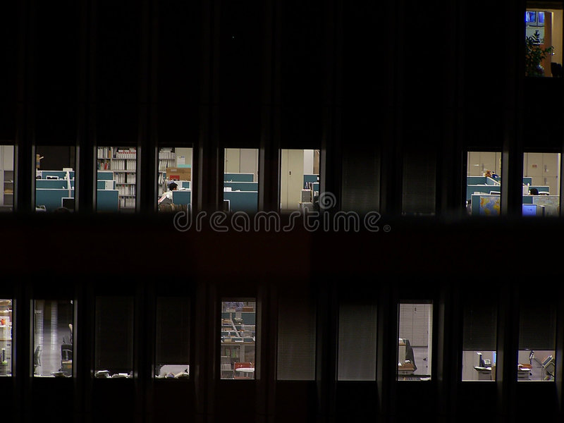 Office at night. Offices lite at night in Tokyo, Japan royalty free stock photography