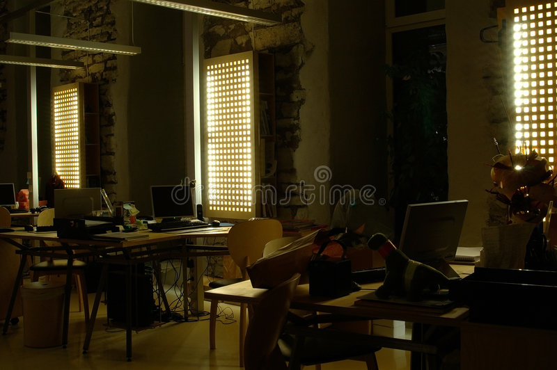 Office at night royalty free stock image
