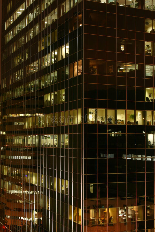 Office by night royalty free stock photography