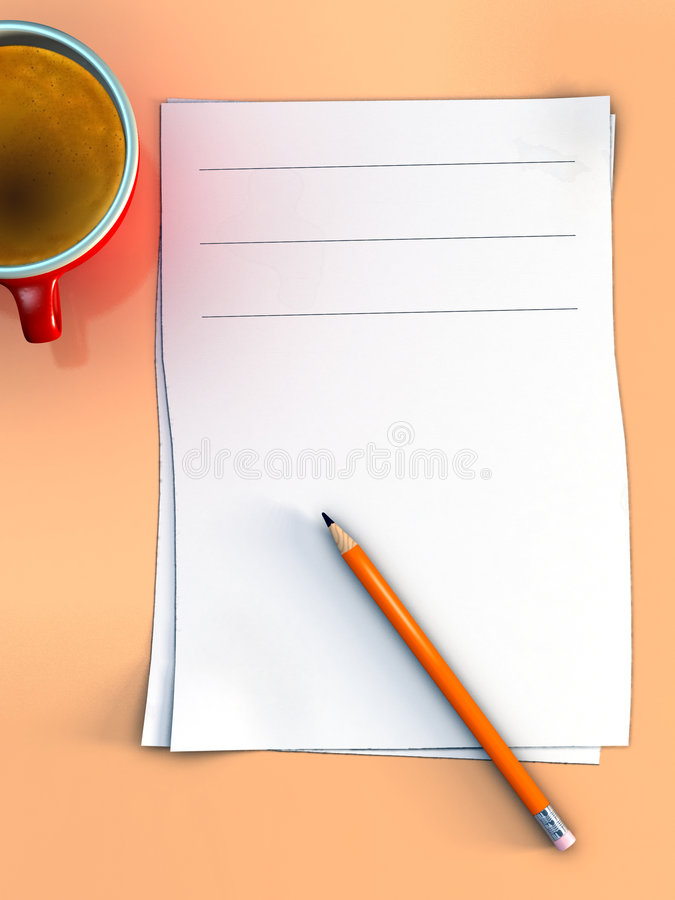 Office notes. Some paper sheet, a pencil and a cup of coffee on an office desk. Digital illustration stock illustration