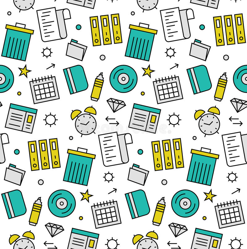 Office objects seamless icons pattern royalty free illustration