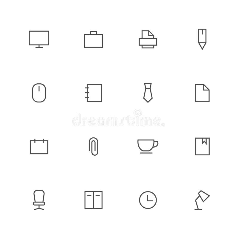 Office outline icons stock vector set black stroke on white background vector illustration