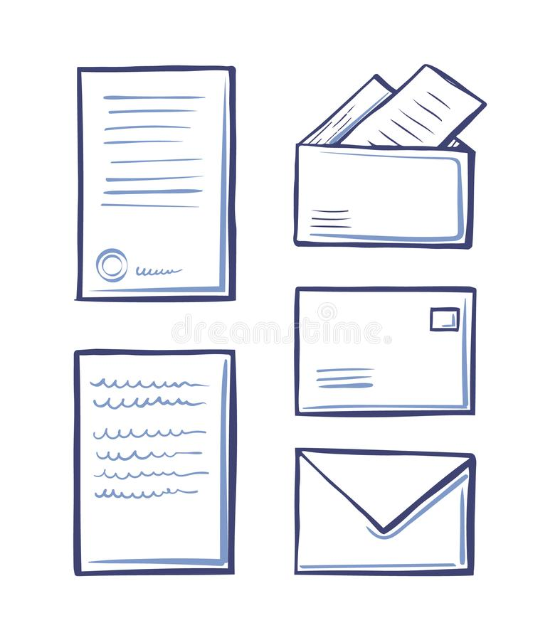 Office Pages and Correspondence Sketches Vector. Office pages and correspondence monochrome sketches outline isolated icons set vector. Messages and envelopes vector illustration