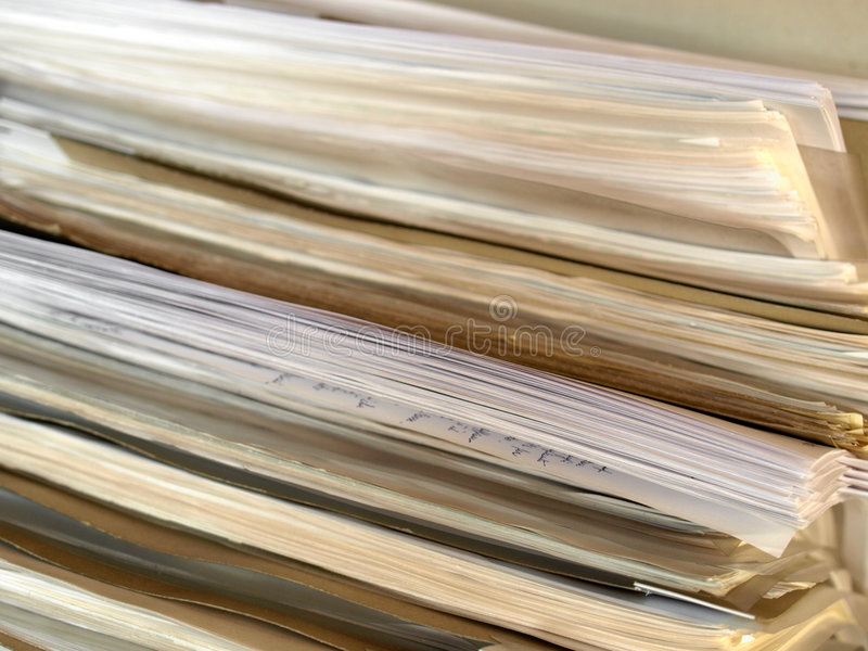 Office paper documents stock image