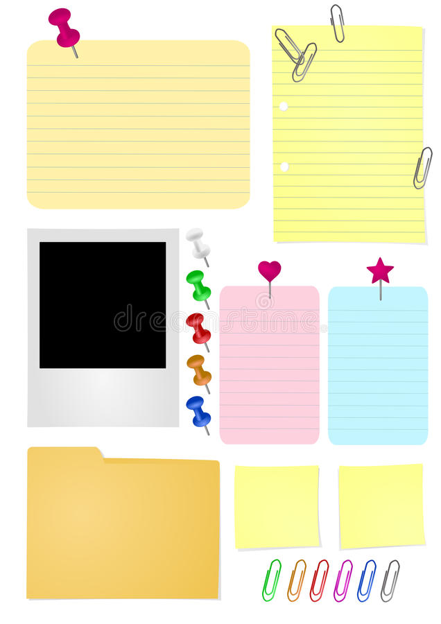 Office Papers. A pack of illustrations (vector) with some papers and suplies usually found at the office royalty free illustration