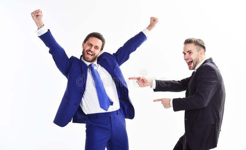 Office party. Celebrate successful deal. Men happy emotional celebrate profitable deal. Launch own business. Business stock images