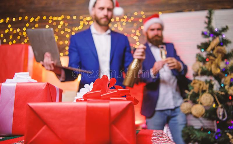 Office party concept. New year corporate party. Business people drink champagne at party. Colleagues celebrate corporate royalty free stock image