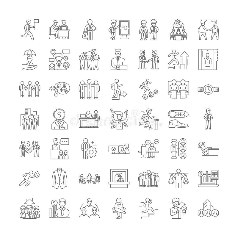 Office people linear icons, signs, symbols vector line illustration set 皇族释放例证