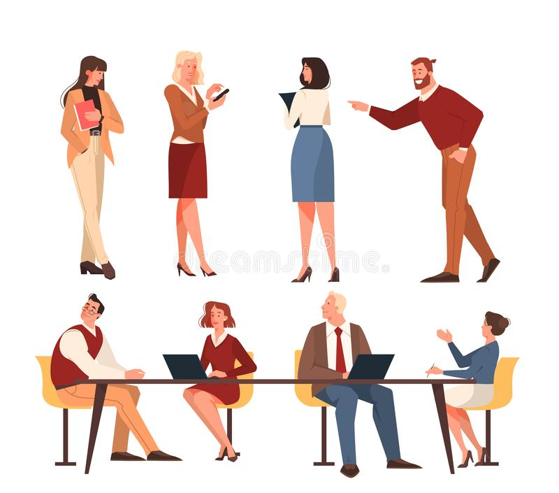 Office people set. Illustration of work team male and female. Young employee standing vector illustration