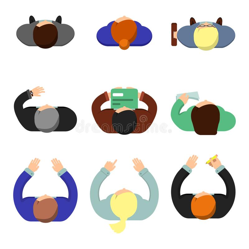 Office people top view. Working managers women and men sitting at the table lifestyle vector flat characters royalty free illustration