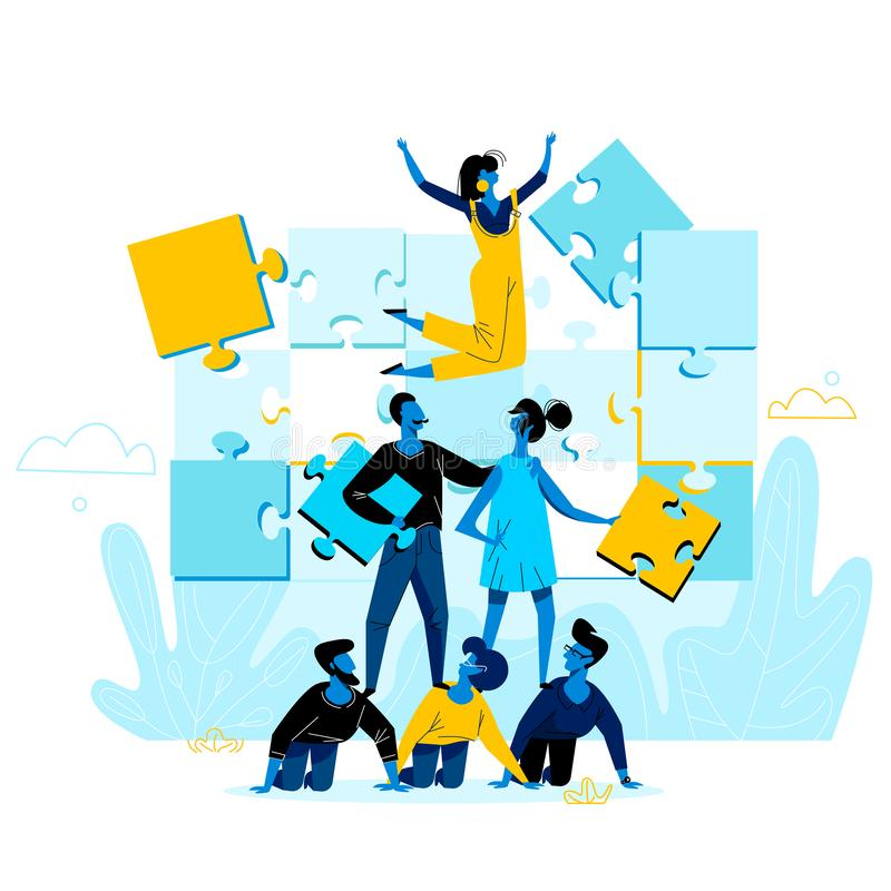 Office People Work Together Setting Up Puzzle stock illustration