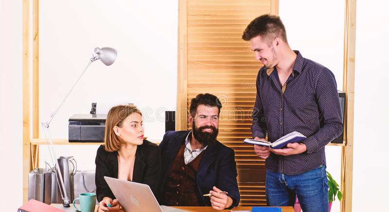 Office personnel. People concept. People making good business discussion in modern coworking office. Business people stock image
