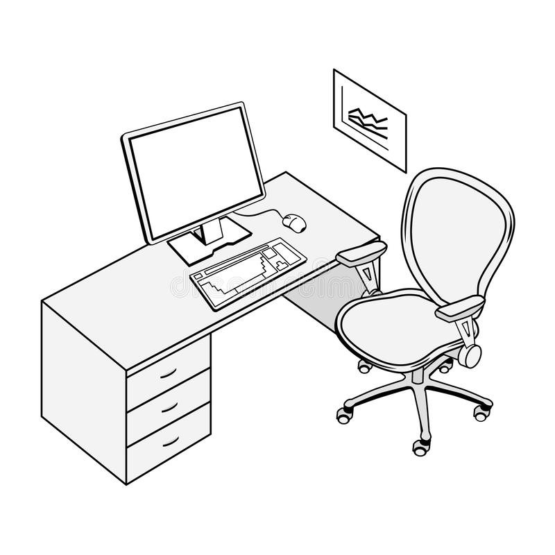 Office place stock illustration