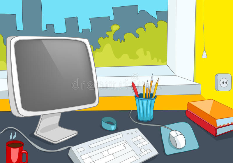 Office Place vector illustration