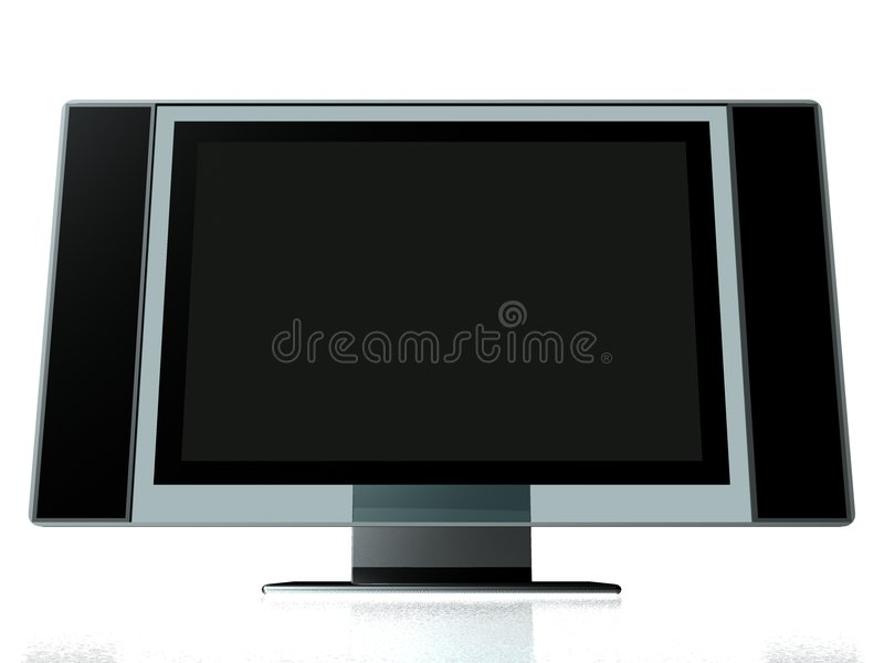 OFFICE PLASMA TV MONITOR. 3d model of PLASMA monitor stock illustration