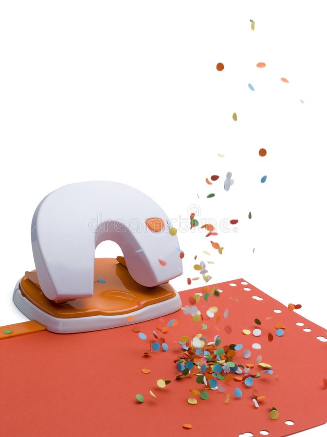 Download Office Puncher With Confetti Rain Royalty Free Stock Photo - Image: 7310565