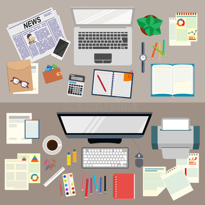 Office. Realistic workplace organization. The view from the top. Business analyst. Study the business strategy. vector illustration