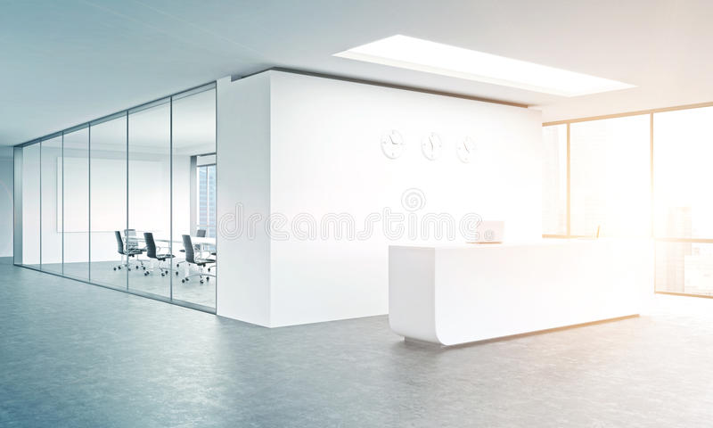 Office reception. Empty office, white reception at white wall, three clocks on it. Panoramic window right, meeting room behind. Filter, toned. Concept of vector illustration