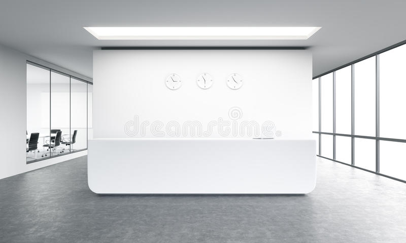 Office reception. Empty office, white reception at white wall, three clocks on it. Panoramic window right, meeting room left. Concept of reception. 3D rendering royalty free illustration