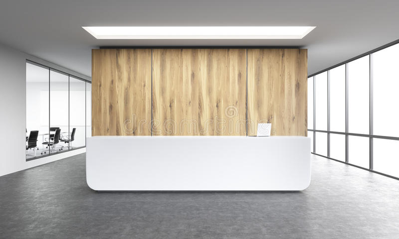Office reception. Empty office, white reception at wooden wall. Panoramic window right, meeting room left. Concept of reception. 3D rendering stock illustration