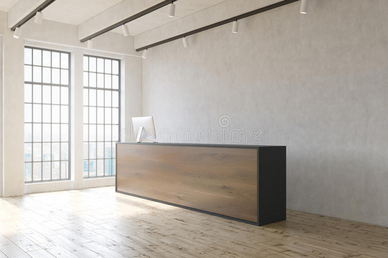 Office reception. Office lobby with wooden floor, concrete wall, reception desk and window with city view. 3D Rendering vector illustration