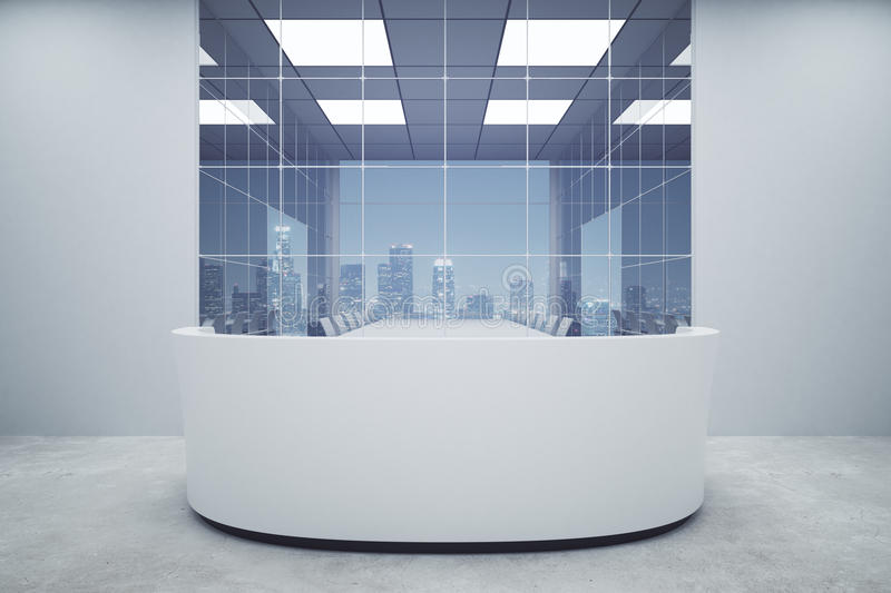 Office reception. New office reception interior with night city view. Mock up, 3D Rendering stock illustration