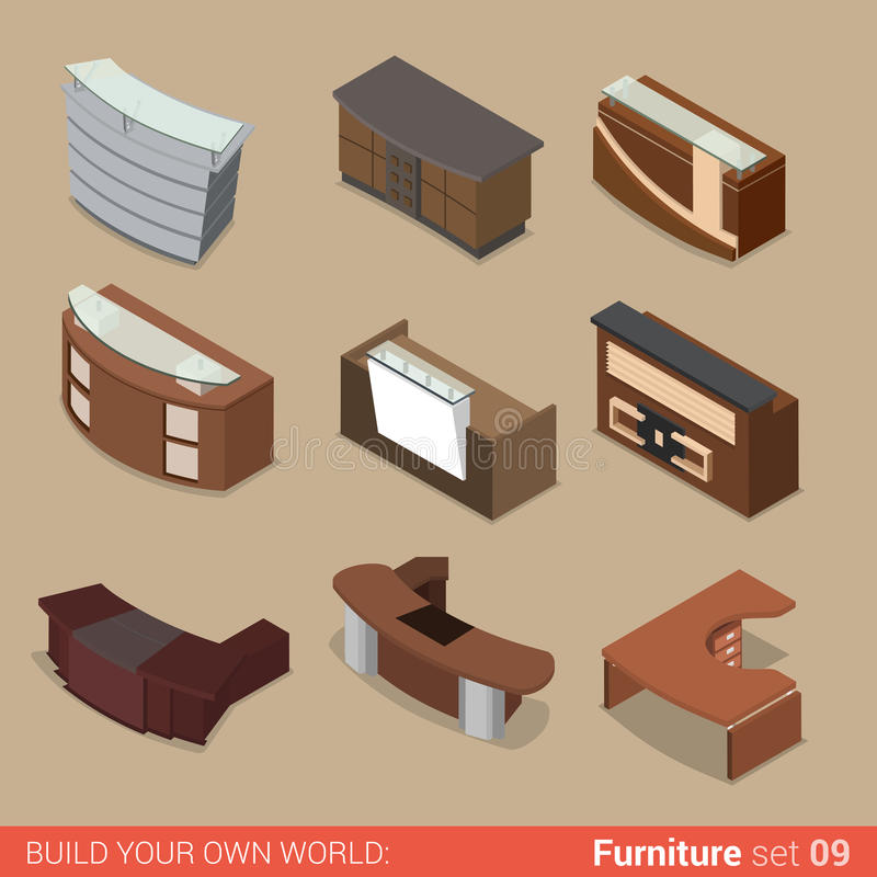 office reception table room flat vector isometric